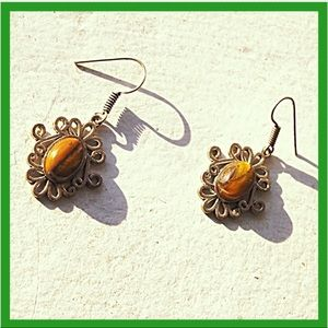 Natural Tiger's Eye Silver Plated Dangle Earrings